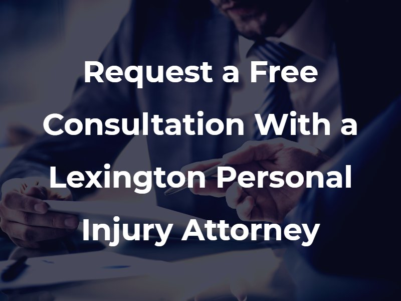 "Two men in suits talking with the text ""Request a Free Consultation With a Lexington Personal Injury Attorney"" superimposed"